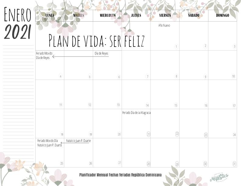 Planificador mensual enero 2021