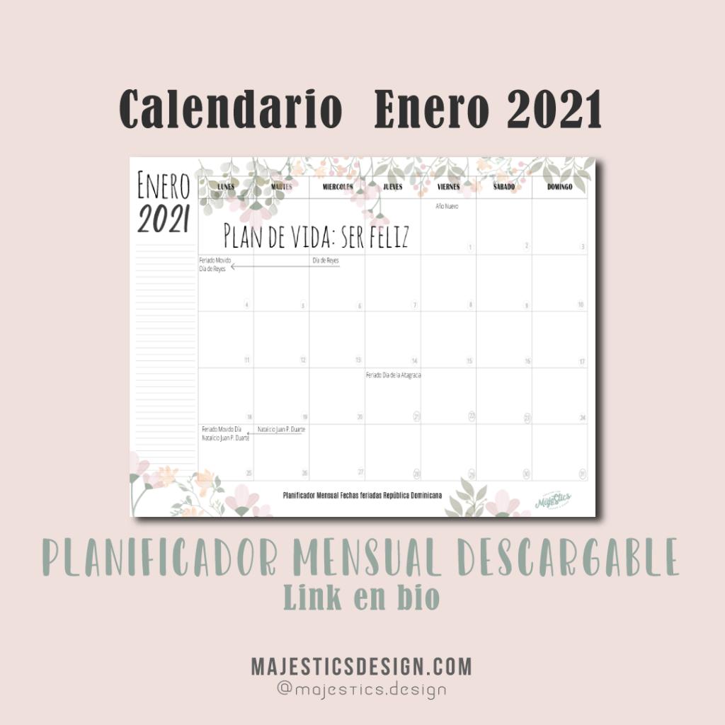 Calendario Enero 2021, planificador mensual
